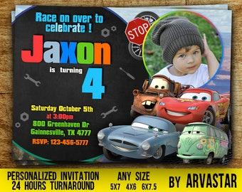 Disney Cars Invitation, Cars Chalkboard Invite,McQueen birthday invitation, Digital File,Disney Cars Party,Cars birthday,Boy birthday