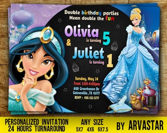 Double Birthday Party Invitation,Jasmine and Cinderella Birthday Party,Dual birthday,Princess Party,Cinderella Birthday