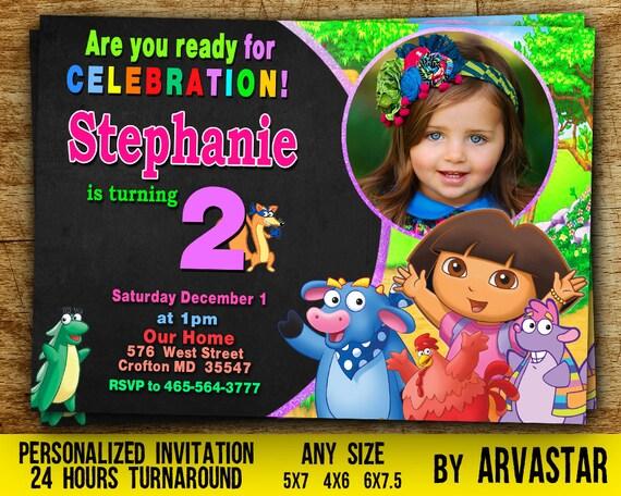Dora Birthday Invitation Dora Invitation Dora Birthday Party Dora The Explorer Birthday Dora Birthday Party Invitation With Photo