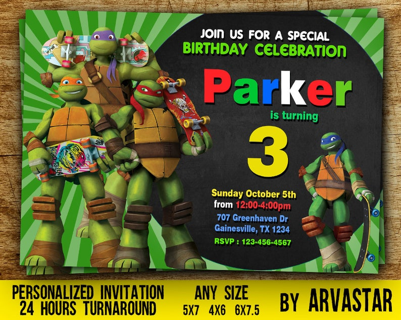 Teenage Mutant Ninja Turtles InvitationTMNT Invitation Printable Birthday Personalized