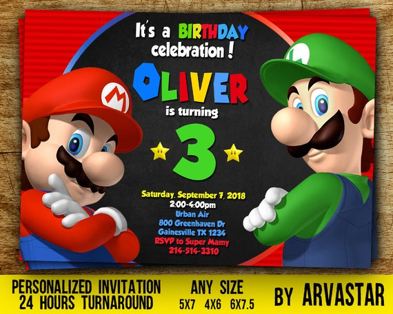 Super Mario Invitation Super Mario Birthdaysuper Mario Etsy