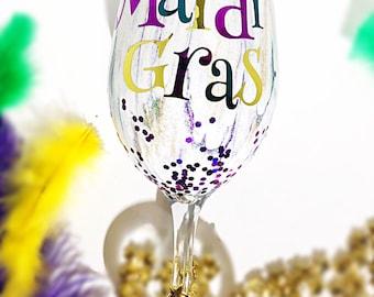 cd68c48671b Stemmed Mardi Gras wine glass
