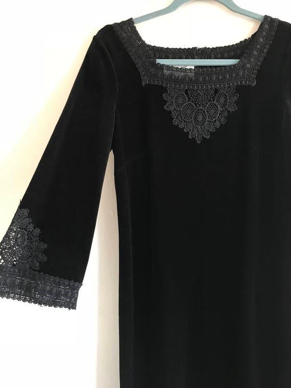 Vintage 60's Black Velvet Gown