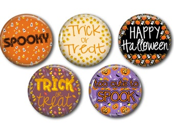 Halloween Sayings, Flat Back Buttons, Buttons, Embellishments, Bow Centers, Party Favors, 1 Inch Buttons, Scrapbook Supplies