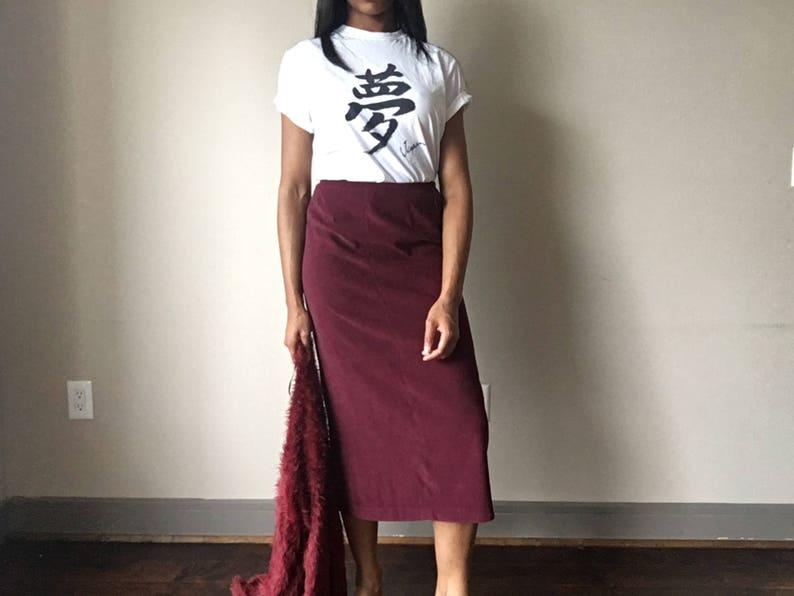 Vintage Burgundy Red Wine Long Skirt