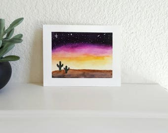 Watercolor painting of a desert sunset and cactus--ORIGINAL
