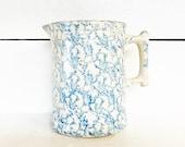 Off White and Blue Stoneware Spongeware Batter Pitcher Farmhouse Kitchen Unmarked Spongeware Pottery Shabby Chic Stoneware Pitcher