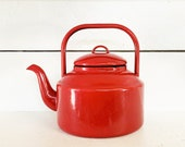 Vintage Red and Black Trimmed Enamelware Coffee Pot Kettle Farmhouse Kitchen Red Enamel Coffee Pot Shabby Chic Decorative Enamel Kettle