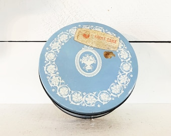 Vintage Baby Blue Wedgewood Themed Fruit Cake Tin Chicago/Embossed Tin/Old Fruit Cake Tin