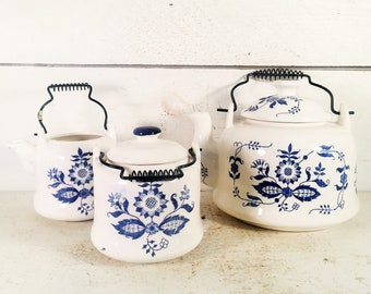 Vintage Blue Onion Themed Ceramic Teapot with Matching Sugar and Creamer Set/Blue & White Floral Ceramic Teapot/Creamer/Sugar Dish