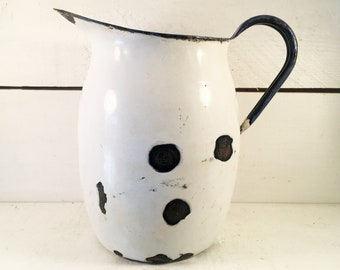 Large Vintage White and Blue Trimmed Enamelware Pitcher/Farmhouse Kitchen Rustic Enamelware Pitcher/Shabby Chic Enamel Water Pitcher