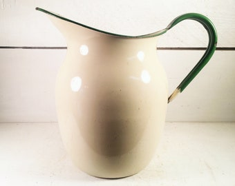 Beige and Green Trimmed Small Enamelware Water Pitcher/Rustic Farmhouse Kitchen Enamel Water Pitcher/Shabby Chic Green Enamel Pitcher