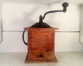 Vintage Arcade Manufacturing Imperial Coffee Grinder with Drawer Dovetailed Wooden and Cast Iron Manual Coffee Bean Grinder Farmhouse Decor