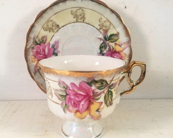 Vintage Inarco Japanese Teacup with Matching Saucer E3007/Farmhouse Kitchen Vintage Teacup with Pink Rose/Shabby Chic Teacup and Saucer