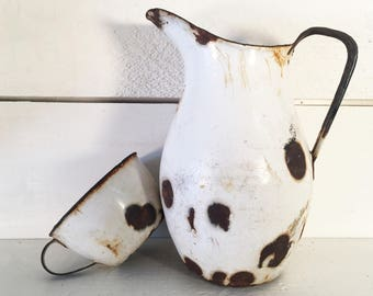 Rustic Enamelware Pitcher and Matching Cup/Does Not Hold Water/Farmhouse Kitchen Decorative Enamel Water Pitcher and Cup/Shabby Chic Pitcher
