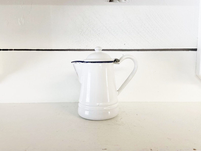 Mini White and Blue Trimmed Enamelware TeapotFarmhouse Kitchen Small Mini TeapotShabby Chic Single Serve Teapot