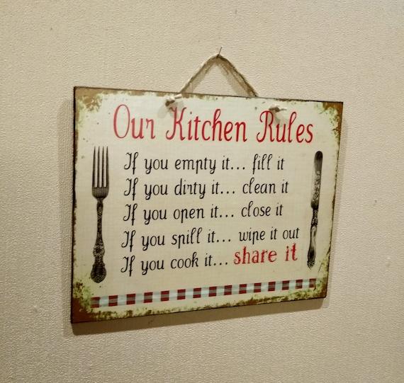PPKM0824 KENYA/'S KITCHEN Rustic Chic Sign Funny Kitchen Decor Birthday Gift