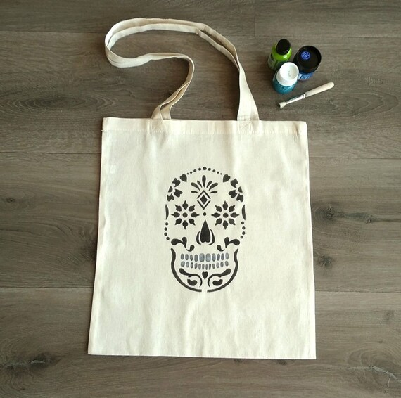 Day of the Dead Tote Original Abstract Art Canvas Tote