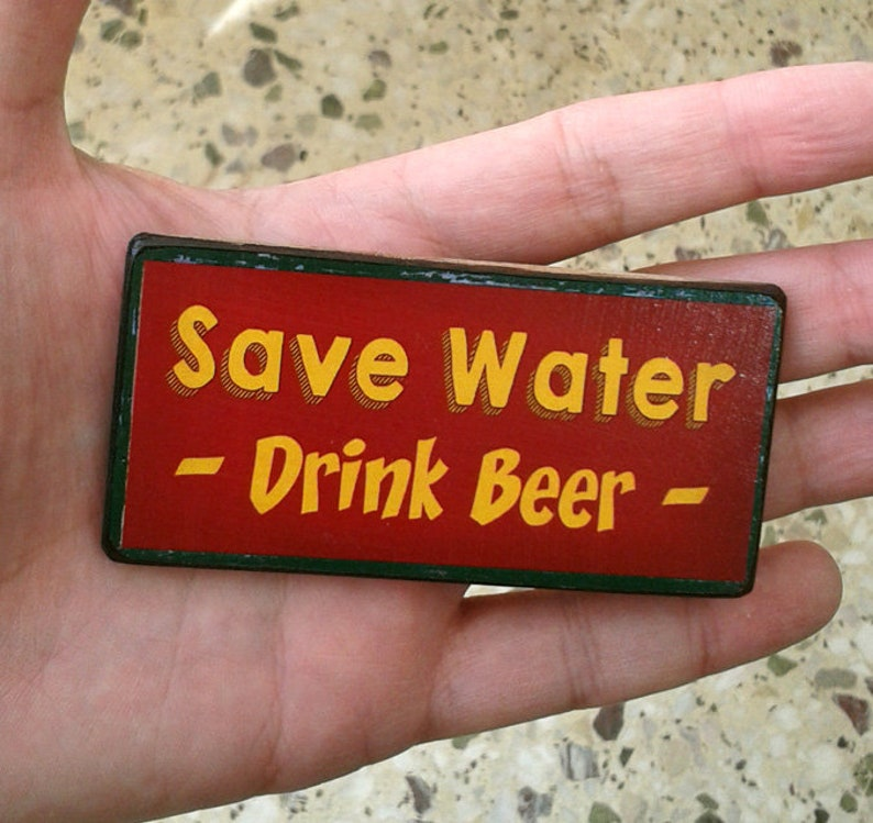 quotes design handmade wooden magnet funny vintage kitchen drinking magnet beer wine gift bar Fridge Magnets set of 3