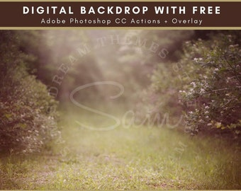 Forest Field Spring Digital Backdrop - Digital Background - Forest Flower Bushes - Meadow Flowers - Digital Download - Photo Backdrop