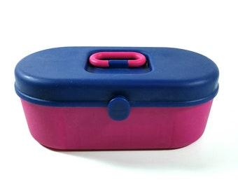 Vintage Small Pink And Purple Caboodle Like Plastic Make Up Storage Case  Organizer