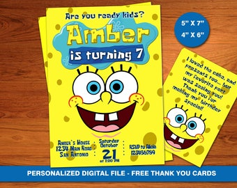 Spongebob invitation etsy spongebob invitation spongebob birthdaysponge bob spongebob invite squarepants custom personalised free thank you cards filmwisefo