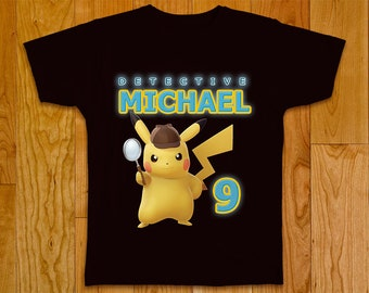 419bf509 Detective Pikachu Tshirt , Iron On transfer, Detective Pikachu tshirt  design, Pikachu, Pokemon, Digital personalized file