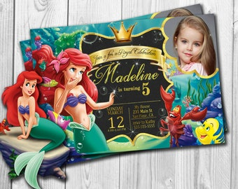 Little Mermaid Invitation Birthday Party Ariel Under The Sea Free Thank You Cards