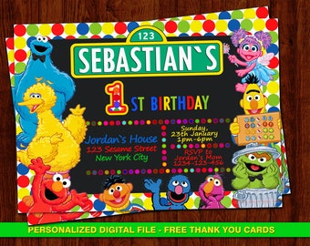 Elmo Invitation Sesame Street Birthday Invites Free Thank You Cards