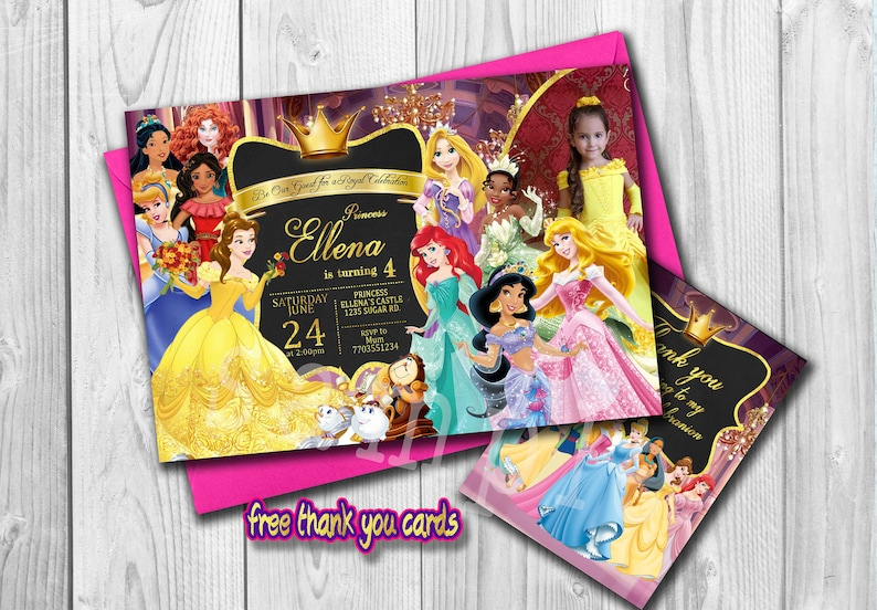 Disney Princess Invitation Birthday Invite Personalized Free Thank You Cards Digital File