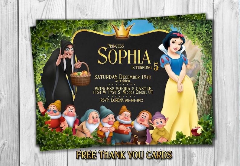Snow White Invitation Snow White Birthday Invite Disney Snow Etsy