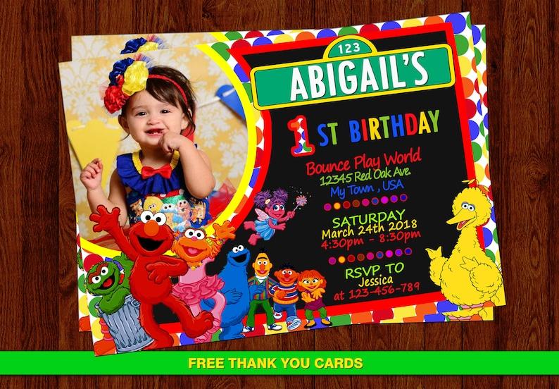 Elmo Invitation Sesame Street Birthday Girl Personalized Free Thank You Cards