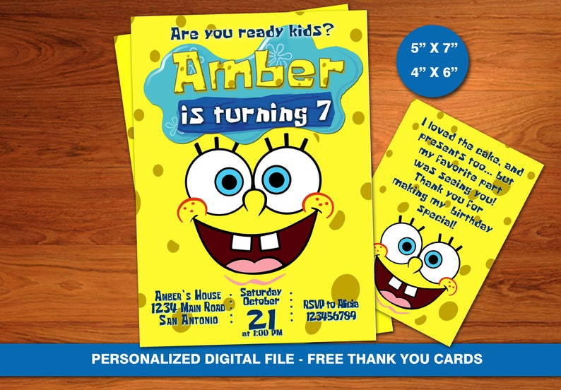SpongeBob Invitation BirthdaySponge Bob