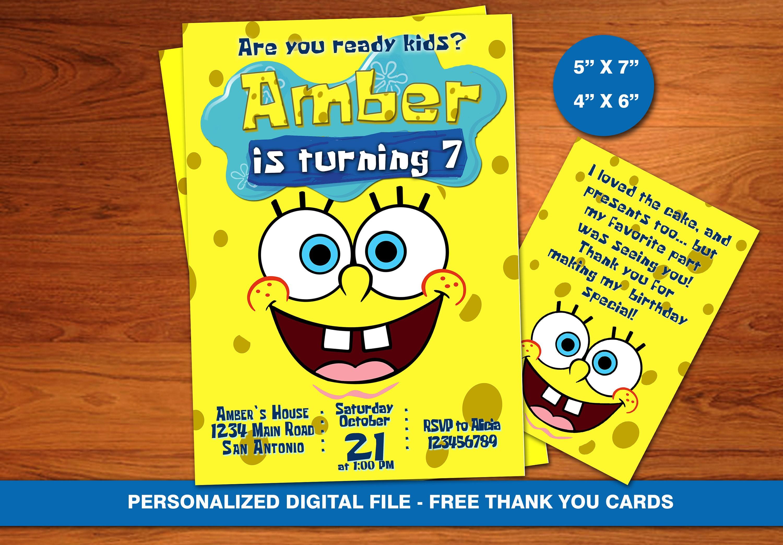 SpongeBob Invitation BirthdaySponge Bob