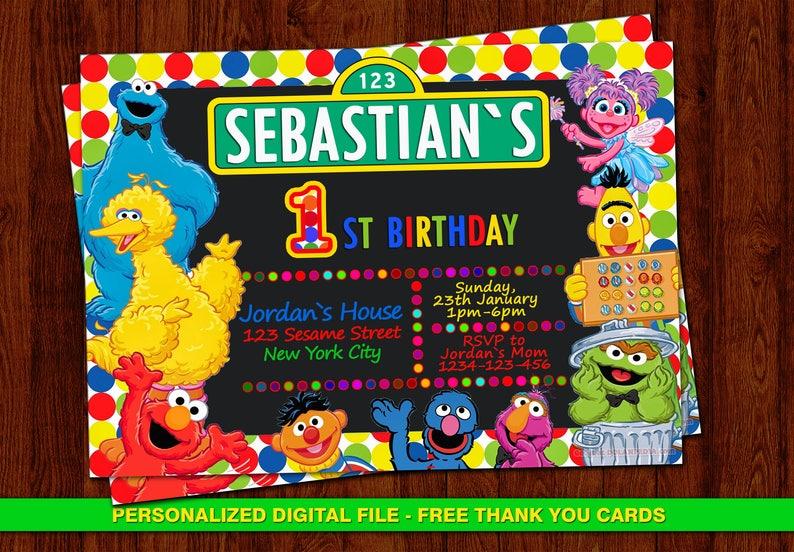 Elmo Invitation Sesame Street Birthday Invites Free Thank You Cards