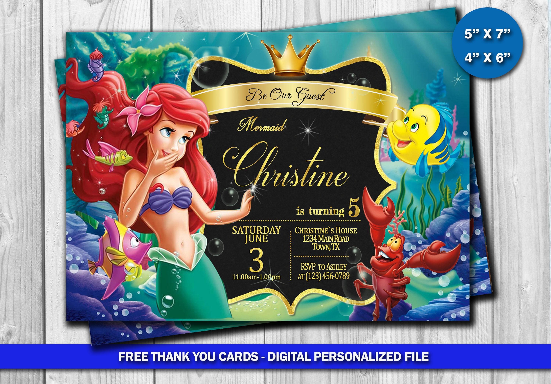 Little Mermaid Invitation Little Mermaid Birthday Little Etsy