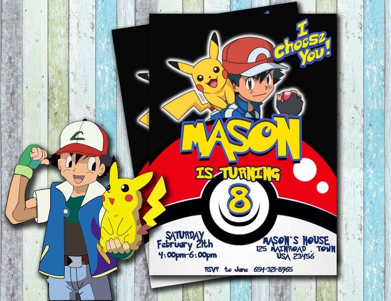 Pokemon Invitation Birthday Party Card Invites Personalised Ash Pikachu
