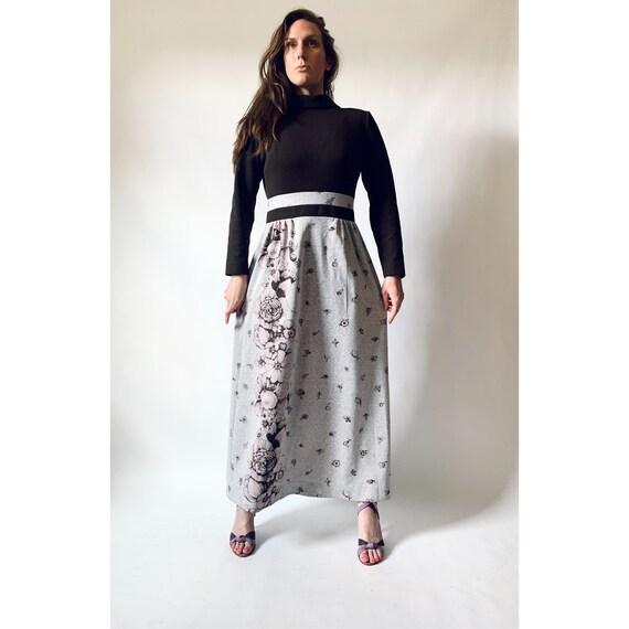 vintage 1970s empire waist floral print maxi dress