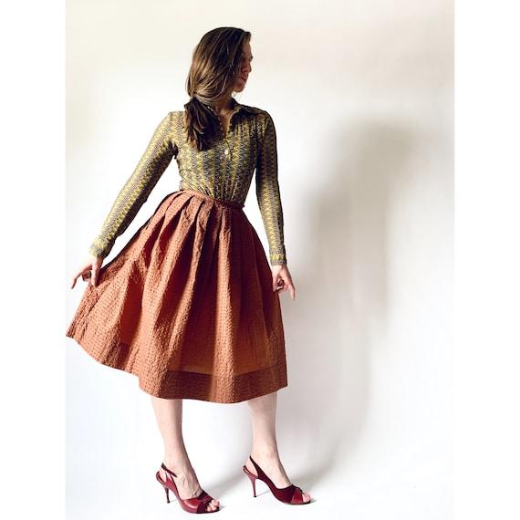 vintage textured bronze skirt full skirt w24