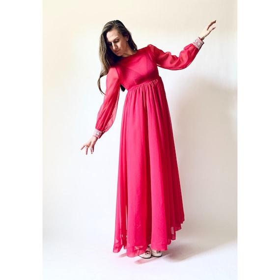 vintage 1970s dress 60s 70s sheer empire waist max