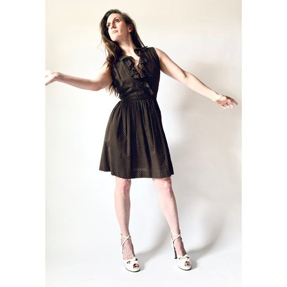 vintage 1960s dress swiss dot surplice 60s sleevel