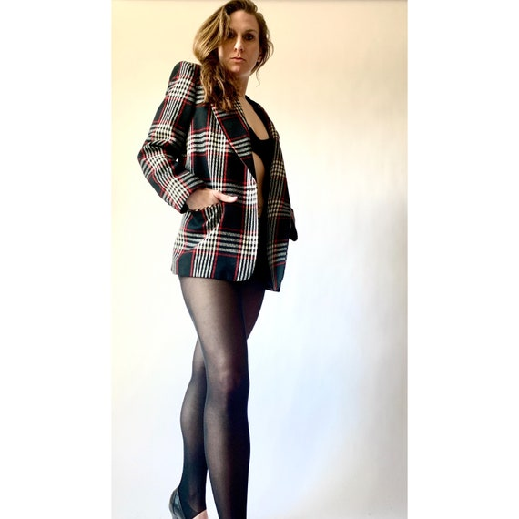 1980s Blazer Plaid Wool Blazer