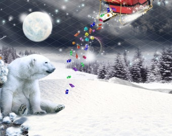 Handcrafted Fun in the Snow with polar bear and bunnies Matching Envelopes 6ct card set WinterHoliday  Fun