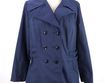 Vintage 70s Navy Blue Lightweight Fall Nautical Style Mini Trench Coat Jacket Size M Medium Mod Double Breasted Spring Solid 1970s