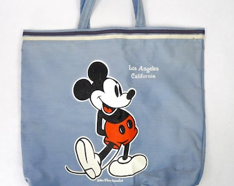 efeb048556c Vintage 80s Walt Disney Productions Mickey Mouse Tote Bag Los Angeles  California WDP Blue Canvas Shopping Book Bag Purse Craft Project As-Is