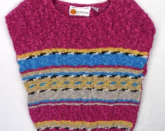 Vintage 80s Colorful Magenta Striped Nubby Chunky Knit Sweater Vest Pullover L Rainbow Stripes Slouch Slouchy Jumper Sleeveless
