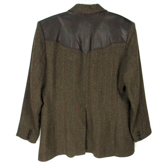 Vintage 70s Pioneer Wear Leather Trim Blazer 46L … - image 6