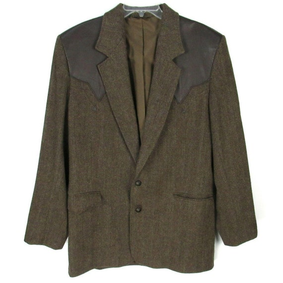 Vintage 70s Pioneer Wear Leather Trim Blazer 46L … - image 1