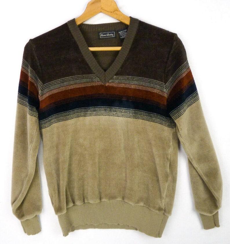 Vintage 70s Velour V-Neck Sweater Jumper Mens S Brown Tan Pierre Andre Hipster Soft Fuzzy Stripes Brushed Jumper Pullover