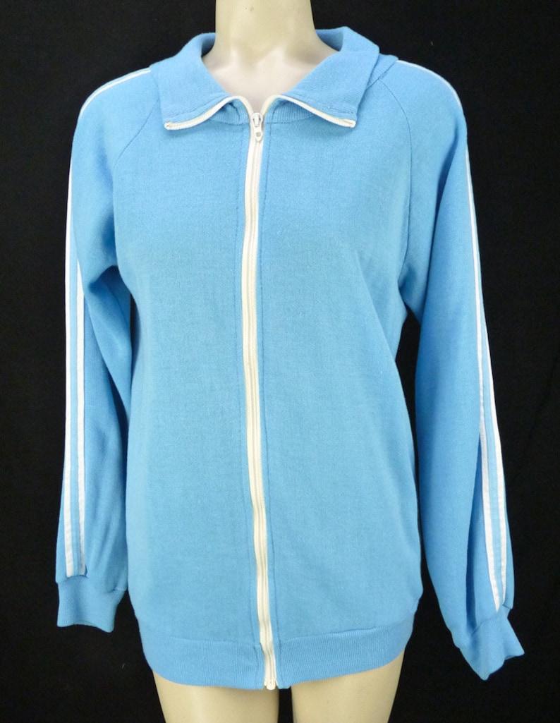Vintage 70s 80s Blue Track Jacket M Raglan Stripes Run DMC Hip Hop Zipper Zip-Front Sweatshirt Racer Stripes White
